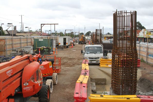 Steel reinforcing cages at Clayton, ready for concrete pylons to be cast in place