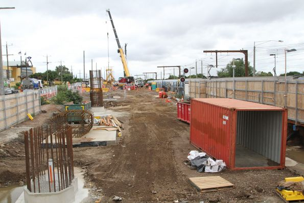 Steel reinforcing cages at Clayton, ready for concrete piers to be cast in place