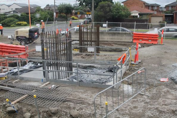 Steel reinforcing cages at Clayton station, ready for concrete pylons to be cast in place