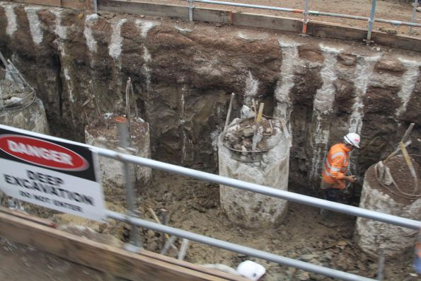 Deep piling works underway east of Clayton station