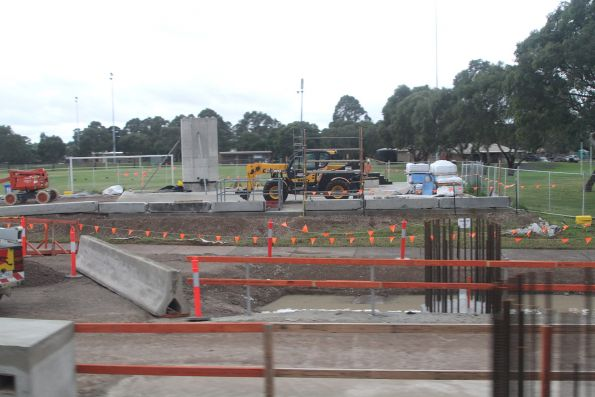 Steel reinforcing cages at Noble Park station, ready for concrete pylons to be cast in place