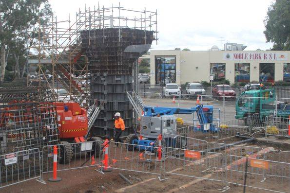 Concrete pylons being cast in place at Noble Park station