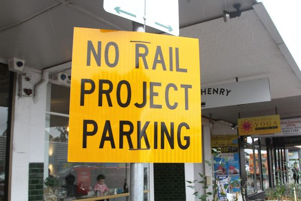 'No rail project parking' sign outside the Murrumbeena shops
