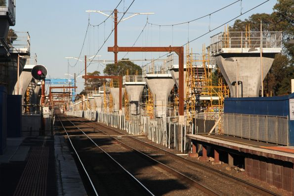 Two rows of piers in place between Carnegie and Murrumbeena stations
