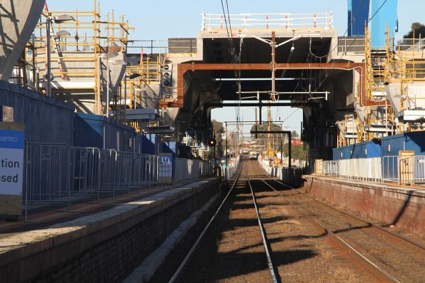 Elevated station platform taking shape above Murrumbeena station