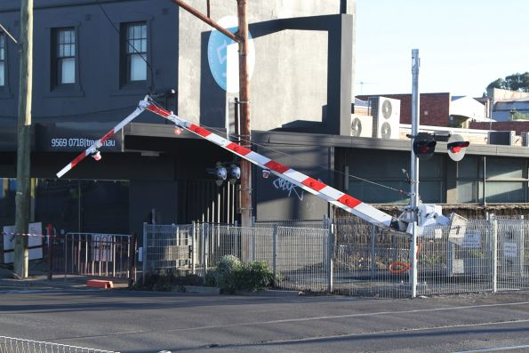 Folding tip boom barriers installed at the Murrumbeena Road level crossing