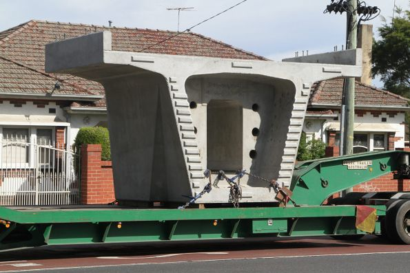 Concrete bridge segment waiting on Warrigal Road before delivery to the assembly site at Murrumbeena station