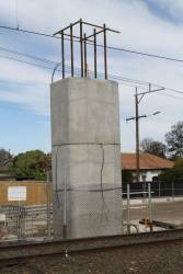 Completed precast concrete pylon at Hughesdale station