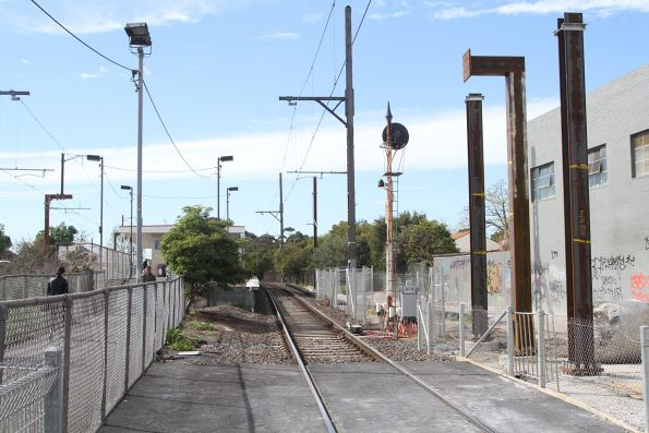 Hi-rail access pad in the up line at Hughesdale station