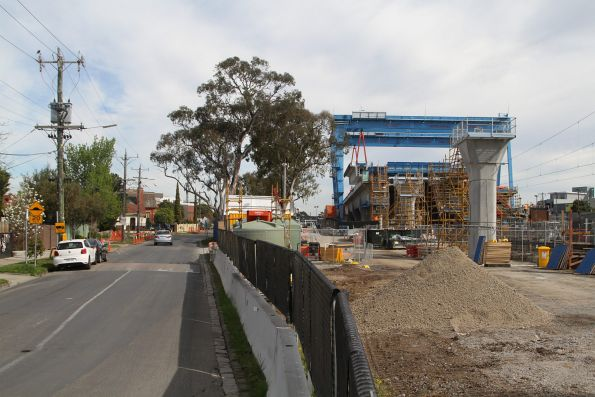 Skyrail span assembly site at Murrumbeena station