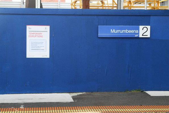 'Cranes moving overhead are normal' signage at Murrumbeena station