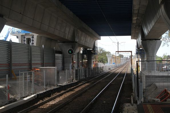 Completed platform for the new Murrumbeena station, located above the existing station