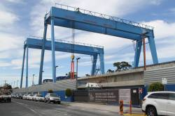 Pair of portal cranes at the Murrumbeena station assembly site