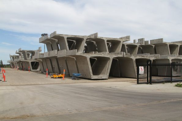 Concrete viaduct segments for the Carnegie-Hughesdale section at the casting plant in Pakenham