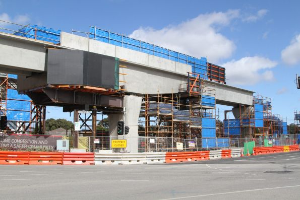 Falsework used to support cantilevered bridge spans across Clayton Road, Clayton