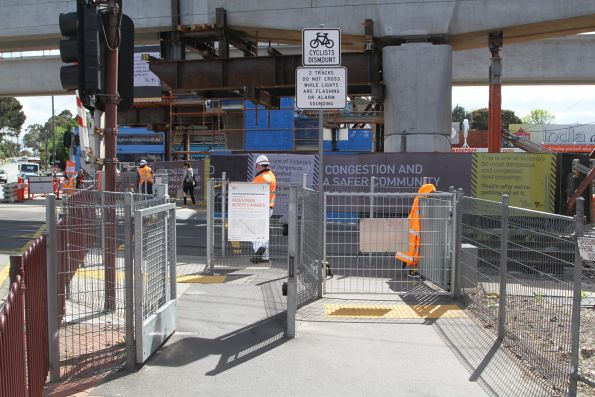 Automatic pedestrian gates now being manually controlled at Clayton Road, Clayton