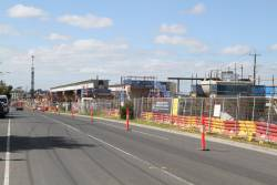 Elevated tracks taking shape between Clayton and Centre Road, Clayton