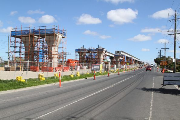 Twin single track viaducts taking shape between Clayton and Centre Road, Clayton