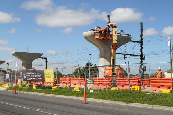 Single twin track viaduct taking shape near Centre Road, Clayton