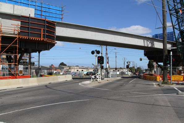 Single twin track viaduct in place over Centre Road, Clayton