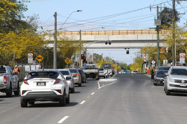 Elevated viaduct in place at Corrigan Road, Noble Park