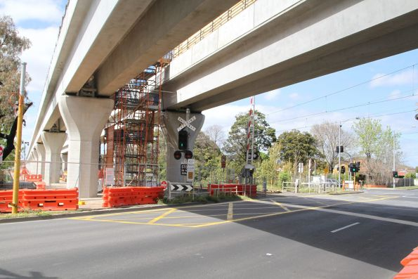Twin single track viaducts in place at Corrigan Road, Noble Park