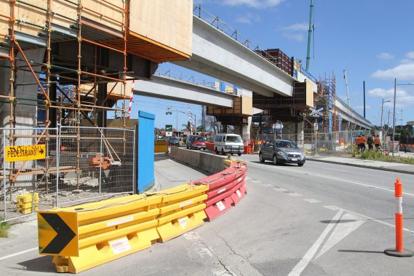 Twin single track viaducts in place at Heatherton Road, Noble Park