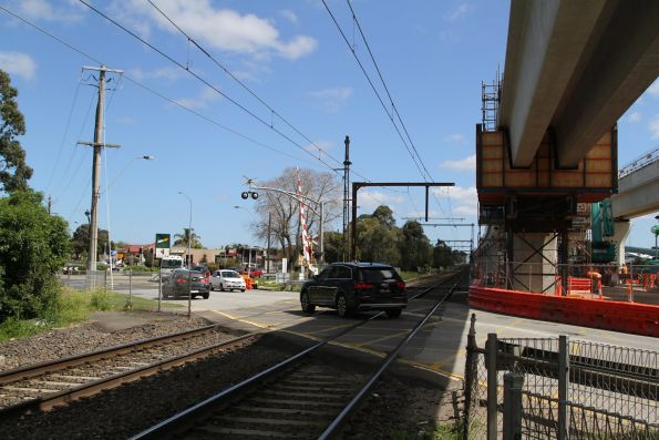 Twin single track viaducts beside the level crossing at Heatherton Road, Noble Park