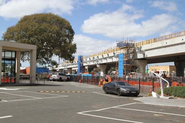 Deck for the future elevated station taking shape at Noble Park