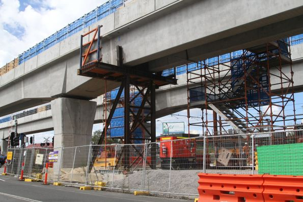 Cantilevered spans across Clayton Road
