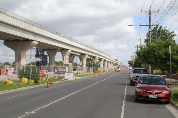 Transition from twin single track to one double track viaduct outside Clayton station