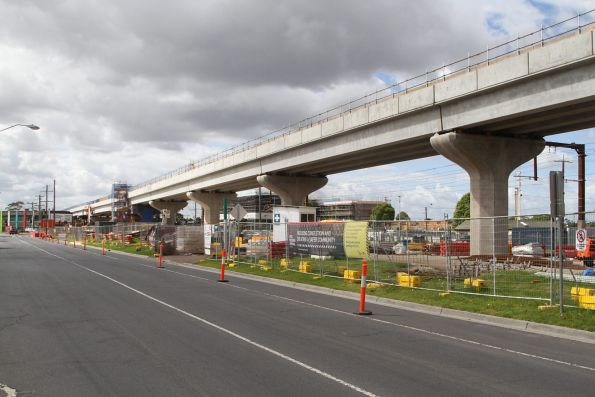 Double track viaduct approaches Centre Road, Clayton