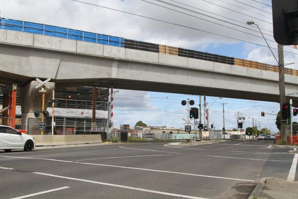 Double track viaduct crosses Centre Road, Clayton