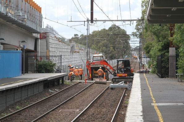 Trench work at the down end of Noble Park station