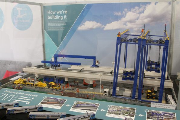 Lego model of the straddle carrier and gantry cranes used to assemble the 'Skyrail' viaduct