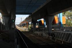 Crash deck in place at the down end of Murrumbeena station