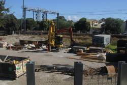 Works compound at the junction of the Frankston and Dandenong lines