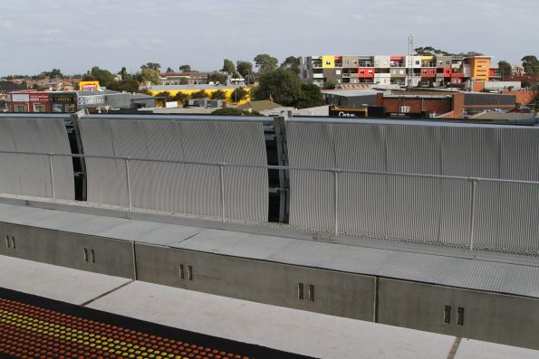 Looking out from the new elevated station building at Noble Park