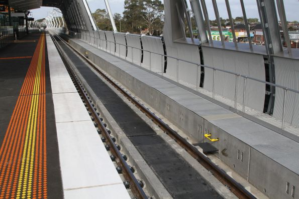 Concrete slab track at the new elevated Noble Park station
