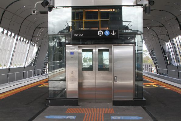 One of two lifts at the new elevated Noble Park station