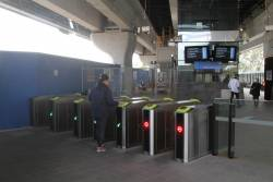Myki gates at the entrance to the new Noble Park station