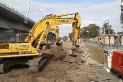 Demolishing the pedestrian subway at the old Noble Park station