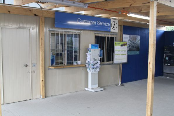Temporary customer service counter in the forecourt of the new Noble Park station