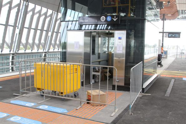 Only one of the two lifts at the new elevated station at Clayton have been commissioned so far