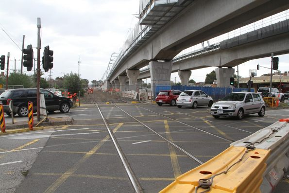 Remains of the Clayton Road level crossing beneath the new elevated Clayton station