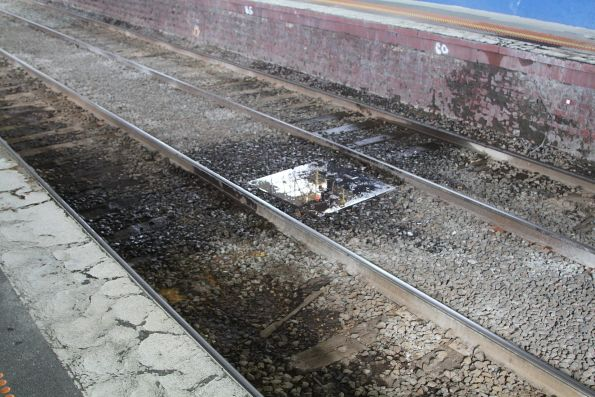 Water drips down onto the tracks at Murrumbeena station