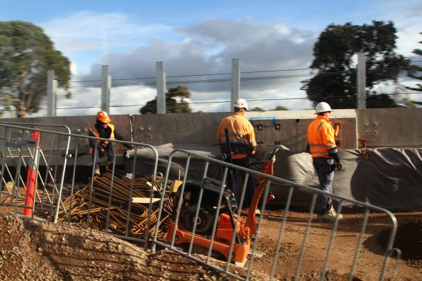 Working on the western viaduct approach ramp at Caulfield