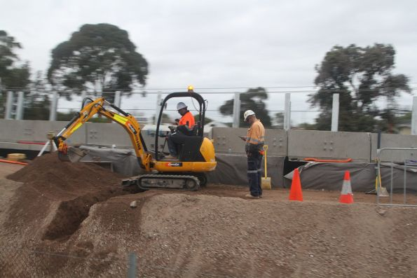 Work continues on the approach ramp at the Caulfield end