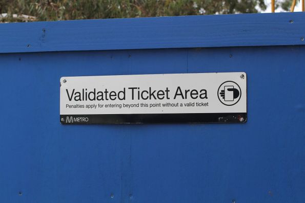 'Metlink' branding starting to show on a 'Validated ticket area' sign