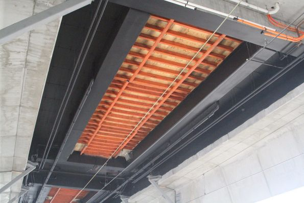 Ceiling painted black at the new elevated Carnegie station
